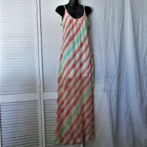 Sanctuary coral green polyester maxi dress M